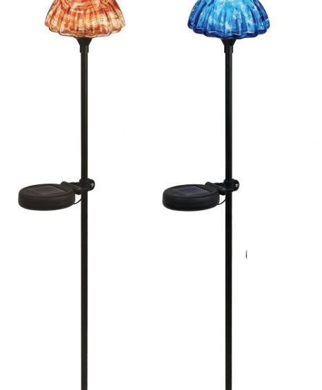 Solar Stake Light, Mushroom, Orange/Blue Assorted (2-Pack)